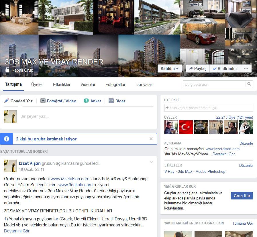 3ds Max ve Vray Render Facebook Gruplarımıza Katılın